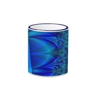 Fractal azul del rastro taza
