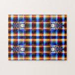 fractal azul marrón bonito de la tela escocesa puzzles