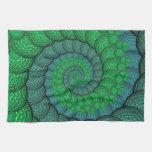 Fractal azul y verde de la pluma del pavo real toalla de cocina