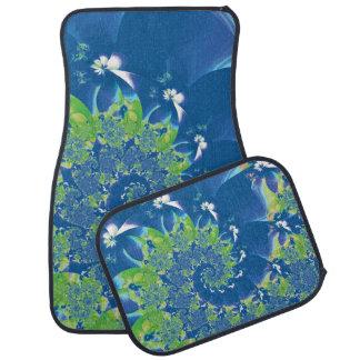 Fractal azul y verde del espiral de la primavera alfombrilla de coche