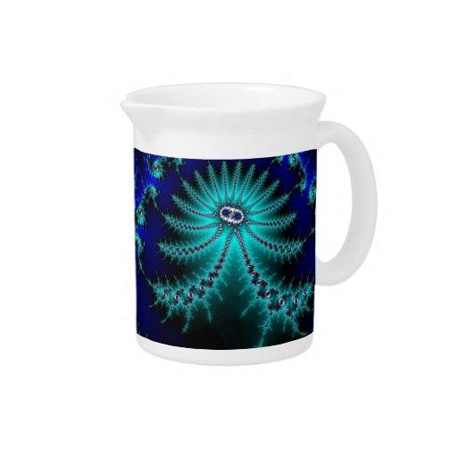 Fractal azul y verde del pulpo jarra para bebida