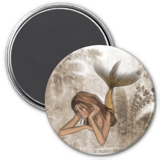Fractal Background 3D Mermaid 3 Inch Round Magnet