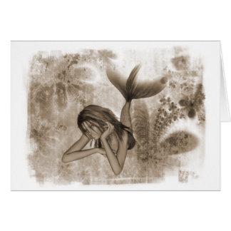 Fractal Background 3D Mermaid Brown Card