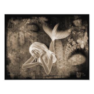 Fractal Background 3D Mermaid Brown Negative Card