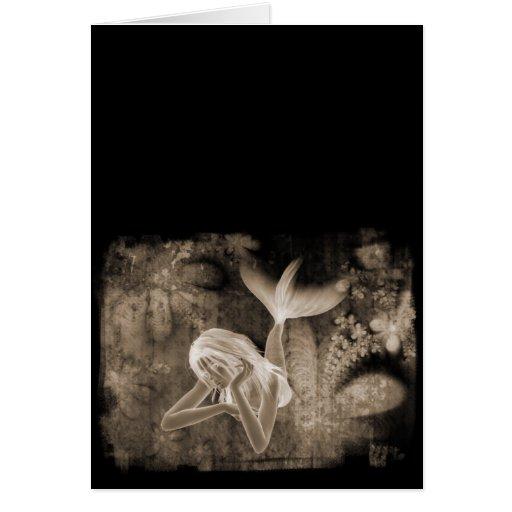 Fractal Background 3D Mermaid Brown Negative Cards