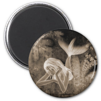 Fractal Background 3D Mermaid Brown Negative Magnet