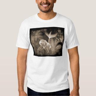 Fractal Background 3D Mermaid Brown Negative Tee Shirt