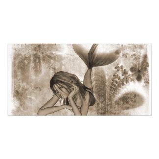 Fractal Background 3D Mermaid Brown Photo Card