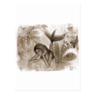 Fractal Background 3D Mermaid Brown Postcard