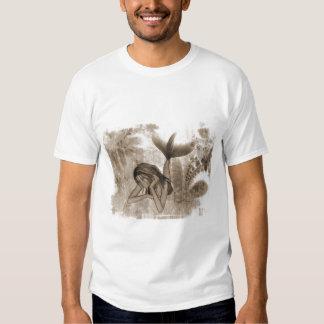 Fractal Background 3D Mermaid Brown T-shirts