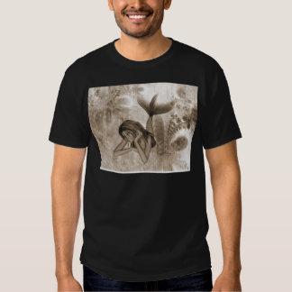Fractal Background 3D Mermaid Brown Tee Shirt