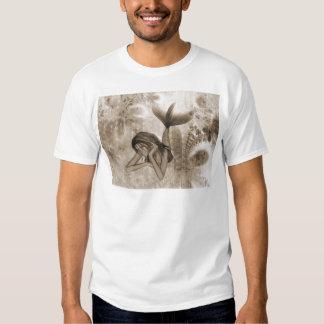 Fractal Background 3D Mermaid Brown Tshirt