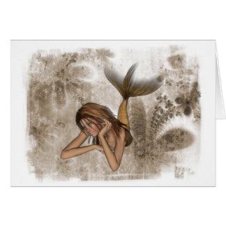 Fractal Background 3D Mermaid Card
