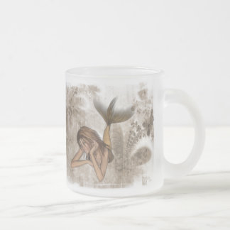 Fractal Background 3D Mermaid Frosted Glass Coffee Mug