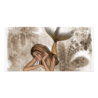 Fractal Background 3D Mermaid Picture Card