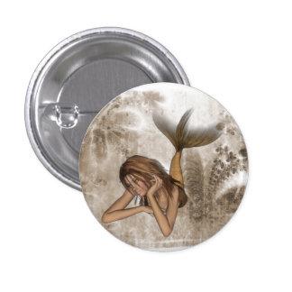 Fractal Background 3D Mermaid Pinback Button