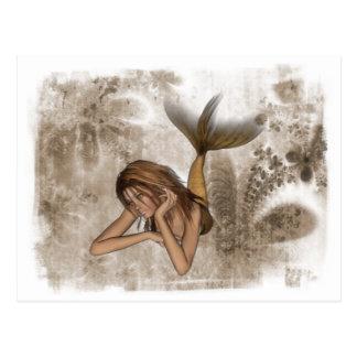 Fractal Background 3D Mermaid Postcard
