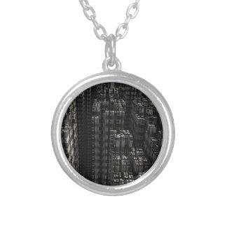 Fractal background round pendant necklace