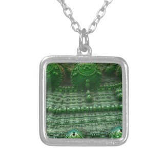 Fractal background square pendant necklace