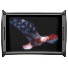 Fractal Bald Eagle Flag Serving Tray
