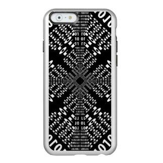 Fractal binario negro y blanco funda para iPhone 6 plus incipio feather shine