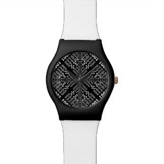 Fractal binario negro y blanco relojes de mano