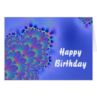 Fractal Birthday Blue Card