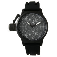 Fractal Black and White Menswear Band Watch