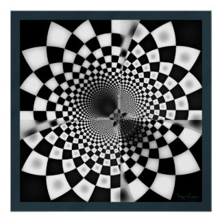 Fractal Black and White Mystery Poster