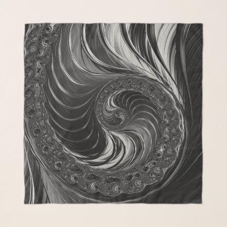 Fractal Black White Metal Nautilus Swirl Scarf