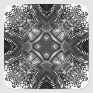 Fractal blanco y negro 13 del caleidoscopio pegatina cuadrada