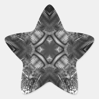 Fractal blanco y negro 13 del caleidoscopio pegatina en forma de estrella