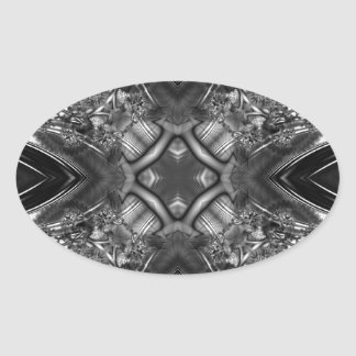 Fractal blanco y negro 13 del caleidoscopio pegatina ovalada