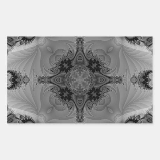 Fractal blanco y negro 5 del caleidoscopio pegatina rectangular