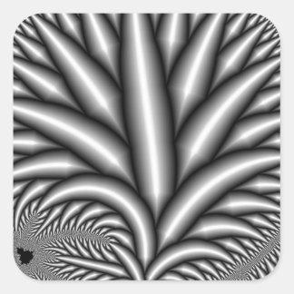 Fractal blanco y negro pegatina cuadrada