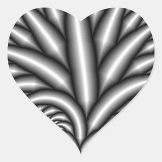 Fractal blanco y negro pegatina en forma de corazón