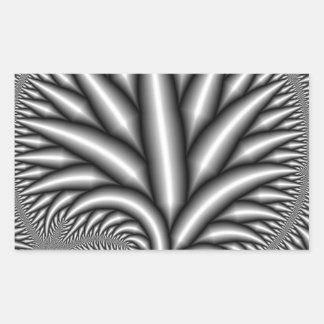 Fractal blanco y negro pegatina rectangular