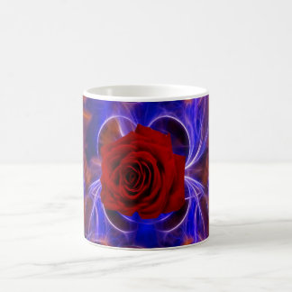 Fractal blue and red rose coffee mug
