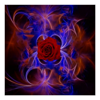 Fractal blue and red rose poster