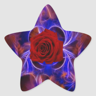 Fractal blue and red rose star stickers