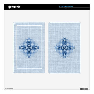 Fractal Blue Celtic Cross Decal For Kindle Fire