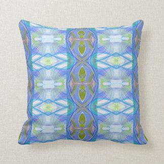 fractal blue ethnic pattern. throw pillow