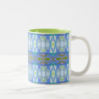 fractal blue ethnic pattern. Two-Tone coffee mug
