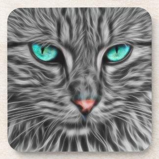 Fractal Blue Eyed Cat Beverage Coaster