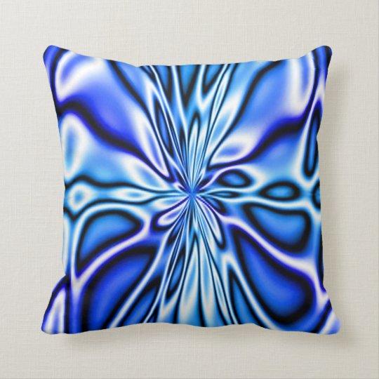 Fractal Blue Floral Bloom Mojo Pillow