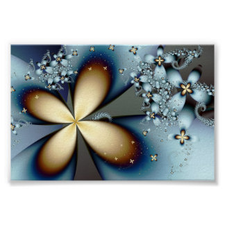 Fractal Blue Gold Cute Abstract Floral Poster