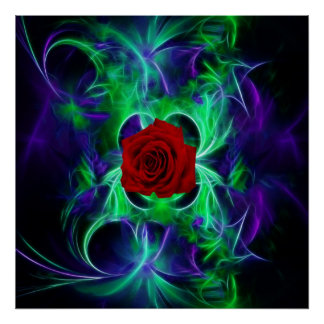 Fractal blue purple and red rose poster