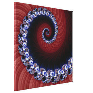 Fractal Blue/Red Spiral Wrapped Canvas