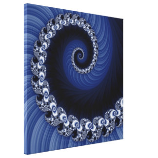 Fractal Blue Spiral Wrapped Canvas