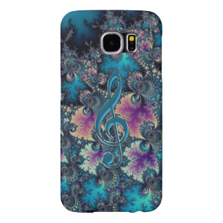 Fractal Blues with Metallic Music Clef Galaxy Case